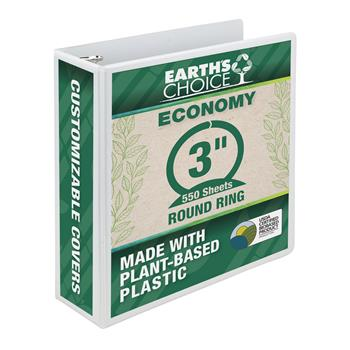 """Samsill® Earth's Choice Biobased 3 Ring View Binders, 3"""" Round Ring, White"""