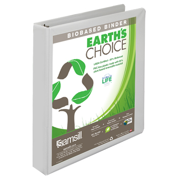 Earth's Choice™ Biobased 3 Ring View Binder, 1 Inch Round Ring, Customizable Clear View Cover, White