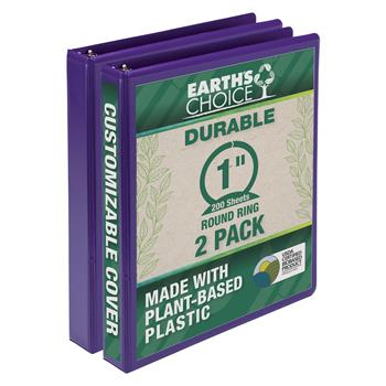 """Samsill® Earth's Choice Biobased Durable Fashion Color 3 Ring View Binder, 1"""" Round Ring, Purple, 2/PK"""