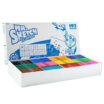 Mr. Sketch® Scented Watercolor Marker, Chisel Tip, 12 Colors, 192/Set