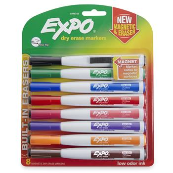 EXPO® Magnetic Dry Erase Marker, Fine Tip, Assorted, 8/Pack