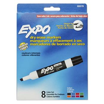 EXPO® Low Odor Dry Erase Marker, Chisel Tip, Assorted, 8/ST