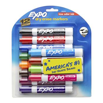EXPO® Low Odor Dry-Erase Markers, Chisel Tip, Assorted, 12/PK