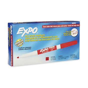 EXPO® Low Odor Dry Erase Marker, Fine Point, Red, Dozen