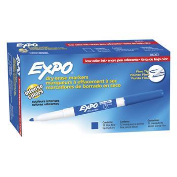 EXPO® Low Odor Dry Erase Marker, Fine Point, Blue, Dozen