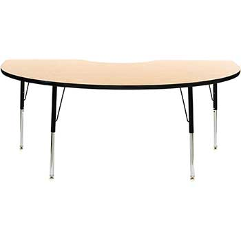 "Activity Table, Thermofuse Oak, 48 X 72"" Kidney Top, Adjustable Black Legs, 22-30"" H"