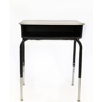 "Open Front Desk with Plastic Bookbox, Grey Nebular Solid Plastic Top, 18"" x 24"", Adjustable Height"