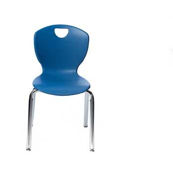 "Scholar Craft™ Ovation Series 4-Leg Chair, 18"" H, Primary Blue Shell, Chrome Frame"