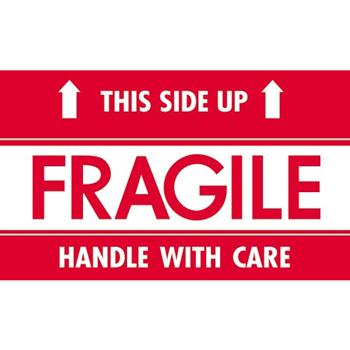 "Tape Logic® Labels, Fragile - This Side Up - HWC"", 3"" x 5"", Red/White, 500/RL"