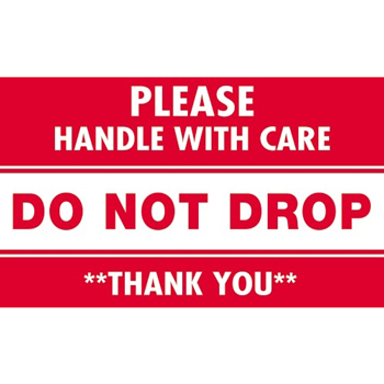 "Tape Logic® Labels, Do Not Drop - Please Handle With Care"", 3"" x 5"", Red/White, 500/RL"