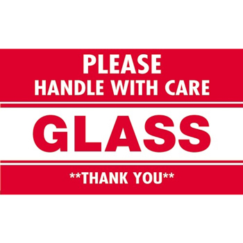 "Labels, Glass - Please Handle With Care"", 3"" x 5"", Red/White, 500/RL"
