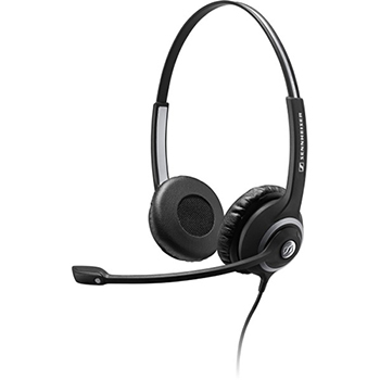 Sennheiser SC 260 Headset - Stereo - Wired - 180 Ohm - 150 Hz - 6.80 kHz - Over-the-head - Binaural - Semi-open - 3.28 ft Cable - Noise Cancelling Microphone - Black, Silver