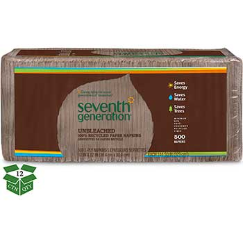 Seventh Generation® 100% Recycled Napkins, 1-Ply, 12 x 12, Unbleached, 500/Pack, 12 Packs/Carton