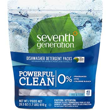 Seventh Generation® Natural Dishwasher Detergent Packs, Free & Clear Scent, 45/Pack