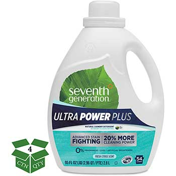 Seventh Generation® Natural Liquid Laundry Detergent, Ultra Power Plus, Fresh, 54 Loads, 95oz, 4/CT