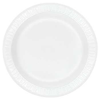"""Non-Laminated Foam Plates, 1-Compartment, 9"""" Dia, White, 500/CT"""