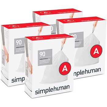 simplehuman® Code A Custom Fit Trash Can Liner, 4 refill packs (90 Count), 4.5 Liter / 1.2 Gallon, 360/Carton