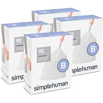 simplehuman® Code B Custom Fit Trash Can Liner, 4 Refill Packs (90 Count), 6 Liter/ 1.6 gal, 360/Carton