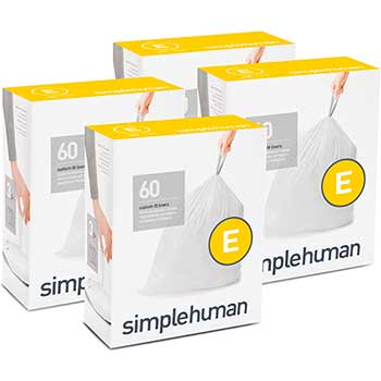 simplehuman® Code E Custom Fit Trash Can Liner, 4 refill packs (60 Count), 20 L/ 5.2 gal, 240/Carton
