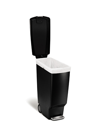 simplehuman® Slim Step Waste Receptacle, 10.6 gal, Black Plastic