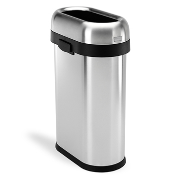 simplehuman® Slim open can, 13 4/5 gallons, Stainless Steel