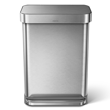 Rectangular step can, 14 1/2 gallons, Stainless Steel