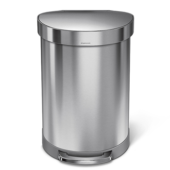 simplehuman® Semi-round step can, 15 5/6 gallons, Stainless Steel