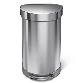 simplehuman® Semi-round step can, 11 7/8 gallons, Stainless Steel