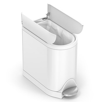 simplehuman® Butterfly Step Waste Receptacle, 2 3/5 gal, White Steel