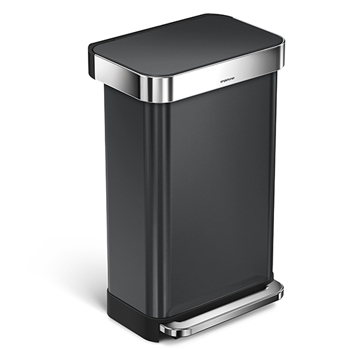 Rectangular Step Can, 11 7/8 gallons, Black Stainless Steel