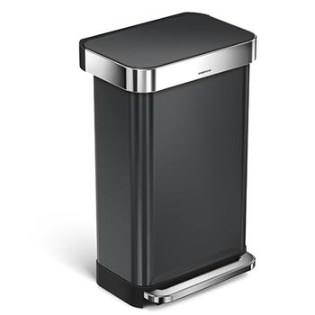 simplehuman® Rectangular Step Can, 11 7/8 gallons, Black Stainless Steel