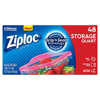 Double Zipper Storage Bags, 9 3/5 x 8 1/2, 1 qt, 1.75mil, 9/CT