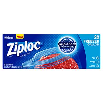 Double Zipper Freezer Bags, 9 3/5 x 12 1/10, 1 gal, 2.7mil, 28/BX, 9 BX/Carton