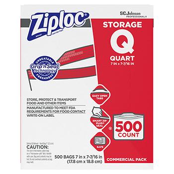 Double Zipper Storage Bags, Plastic, 1qt, Clear, Write-On ID Panel, 500/BX