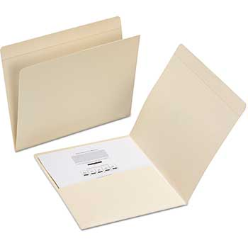 Smead® Top Tab File Folders with Inside Pocket, Staight Tab, Letter, Manila, 50/Box