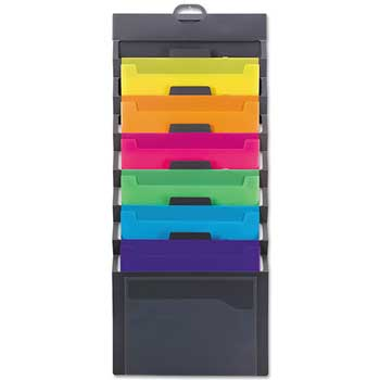 Cascading Wall Organizer, 14 1/4 x 33, Letter, Gray with 6 Bright Color Pockets