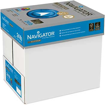 Navigator® Platinum Paper, 99 Brightness, 24lb, 8-1/2 x 11, White, 5000/Carton