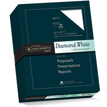 Southworth® 25% Cotton Diamond White Business Paper, 24 lbs., 8-1/2 x 11, 500/Box