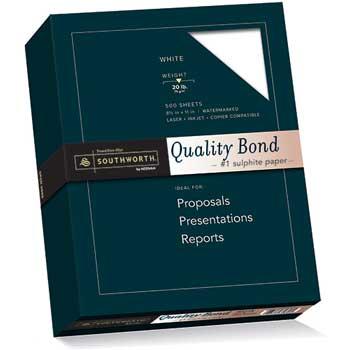 Southworth® Quality Bond #1 Sulphite Paper, White, 20 lbs., Wove, 8-1/2 x 11, 500/Box