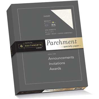 Southworth® Parchment Specialty Paper, Ivory, 32 lbs., 8-1/2 x 11, 250/Box