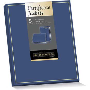 Southworth® Certificate Jacket, Navy w/Gold Border, 88 lbs., 9-1/2 x 12, 5/Pack