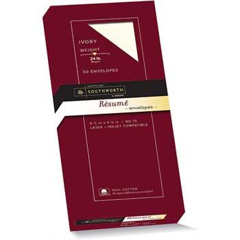 Southworth® 100% Cotton #10 Resume Envelope, Ivory, 24 lbs., Wove, 50/Box