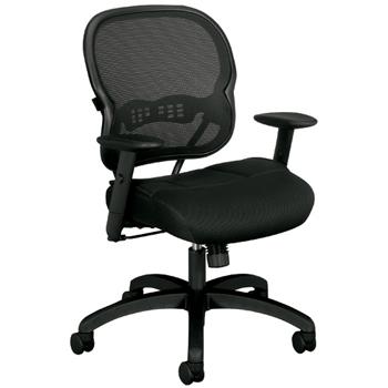 "SuperSeats™ ""The Agent"" Mid-Back Swivel/Tilt Work Chair, Black Mesh"