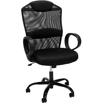 """Moderator"" High Back Executive Swivel Tilt Chair, Black Fabric / Black Mesh"