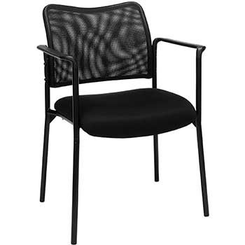 """Sidekick"" Mesh Guest Side Chair, Black Fabric"