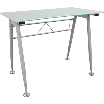 Glass Top Computer Table Desk, Frosted