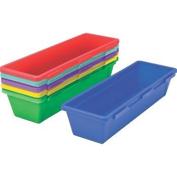 Storex Pencil Trays, Assorted Colors, 6/PK, 6 PK/CT