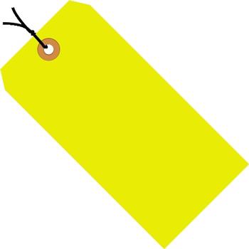 "W.B. Mason Co. Shipping Tags, Pre-Strung, 13 Pt., 4 1/4"" x 2 1/8"", Fluorescent Yellow, 1000/CS"