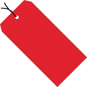 """Shipping Tags, Pre-Strung, 13 Pt., 4 3/4"""" x 2 3/8"""", Red, 1000/CS"""
