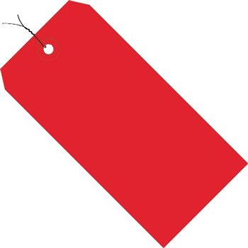 """Shipping Tags, Pre-Wired, 13 Pt., 4 3/4"""" x 2 3/8"""", Red, 1000/CS"""